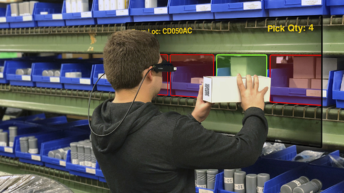 Warehouse Worker using LogistiVIEW's Pick and Put Wall Solution-1